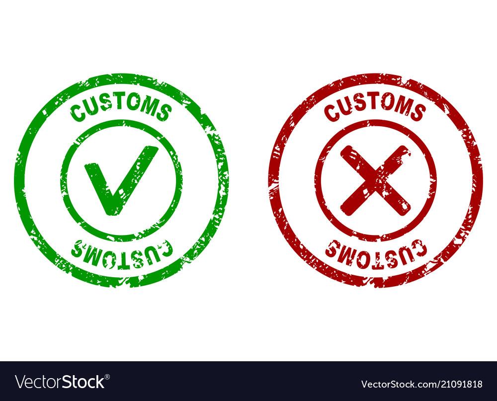 Inspection rubber stamp on customs border
