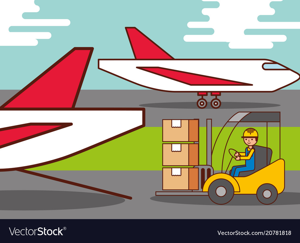 Logistic airplane worker driving forklift cargo