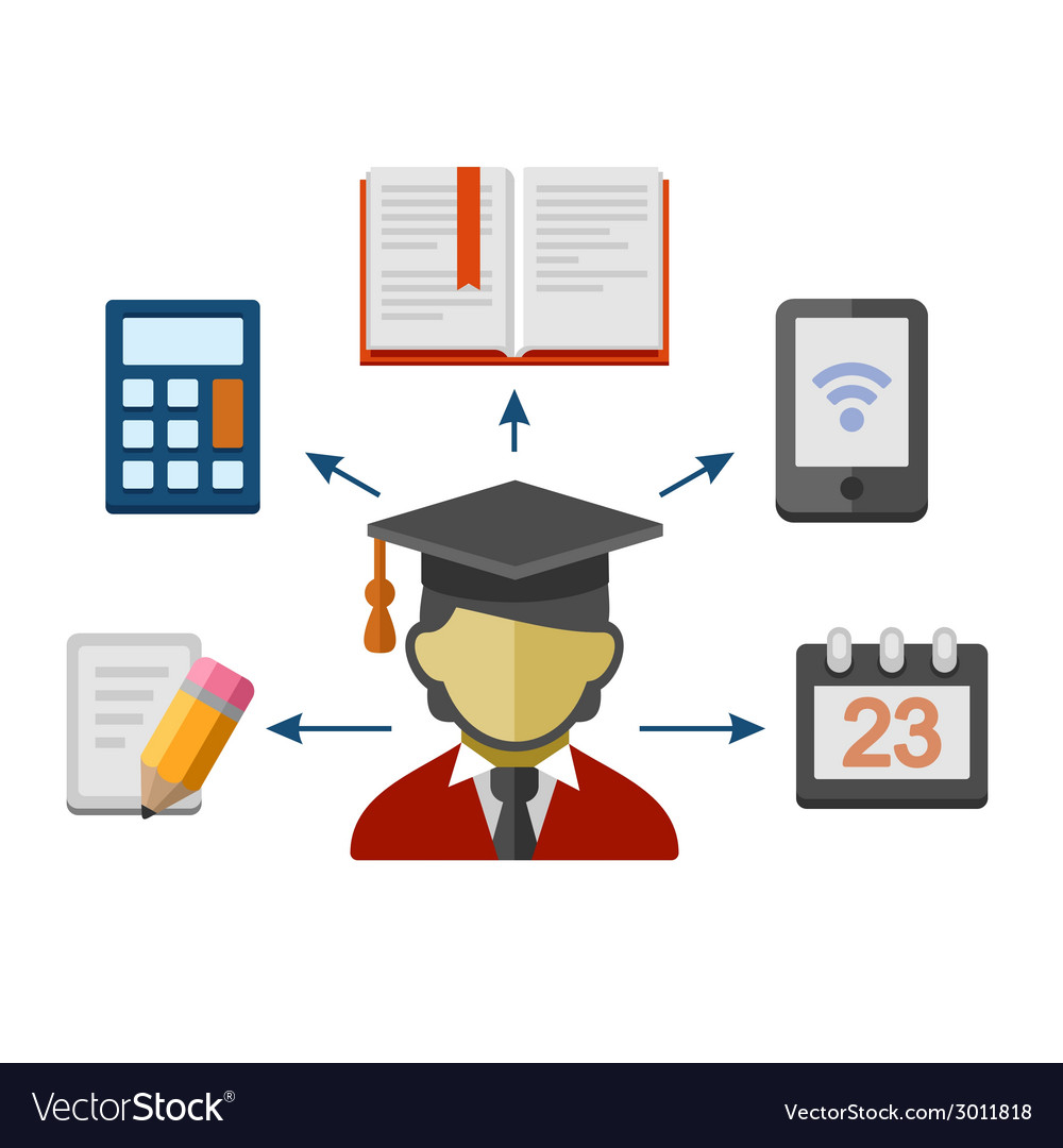 Set of Flat Style Concept Icons for Education