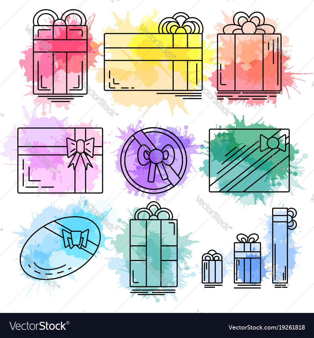 Set of linear icons of festive gifts of various