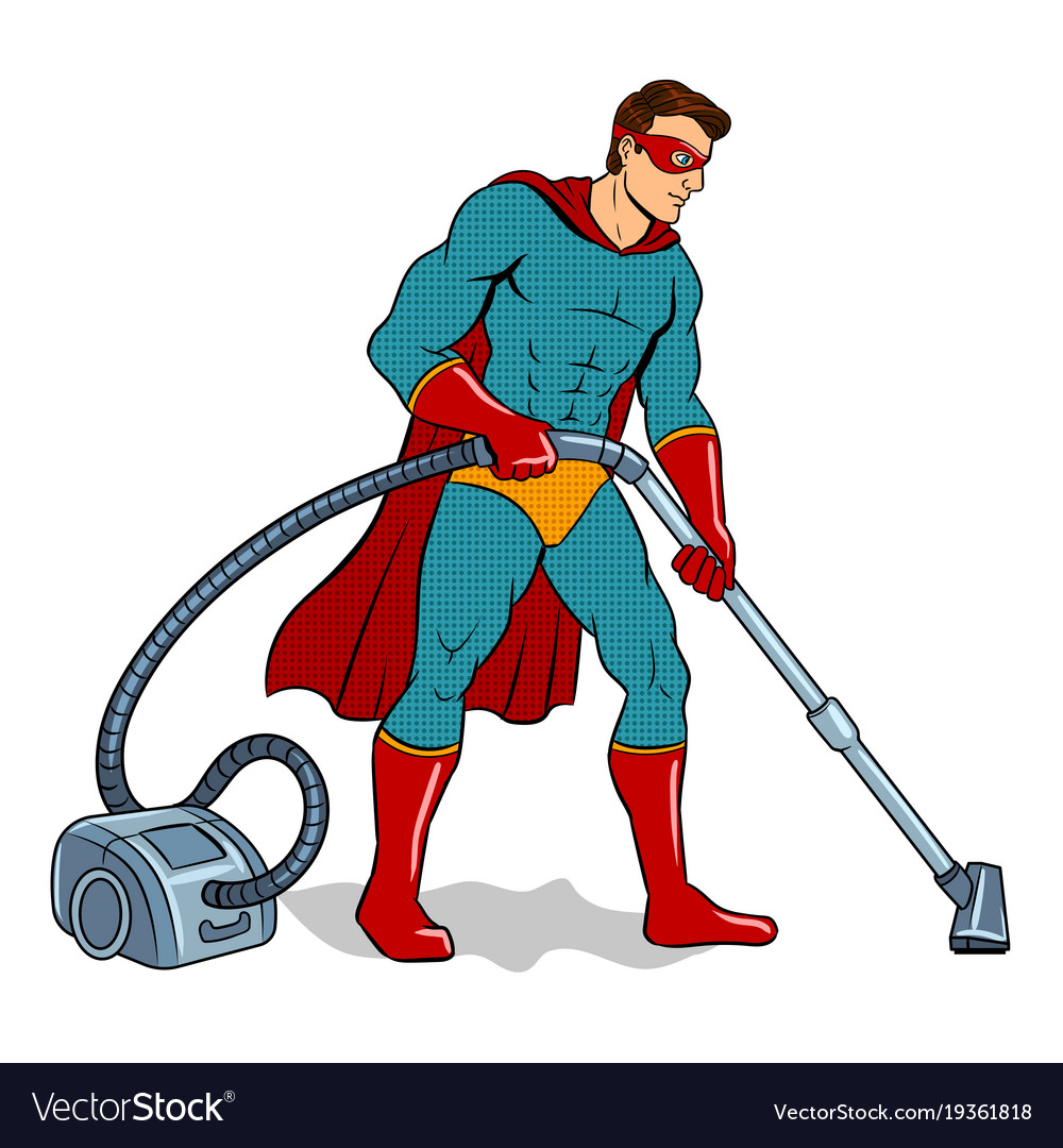 Superhero with vacuum cleaner pop art