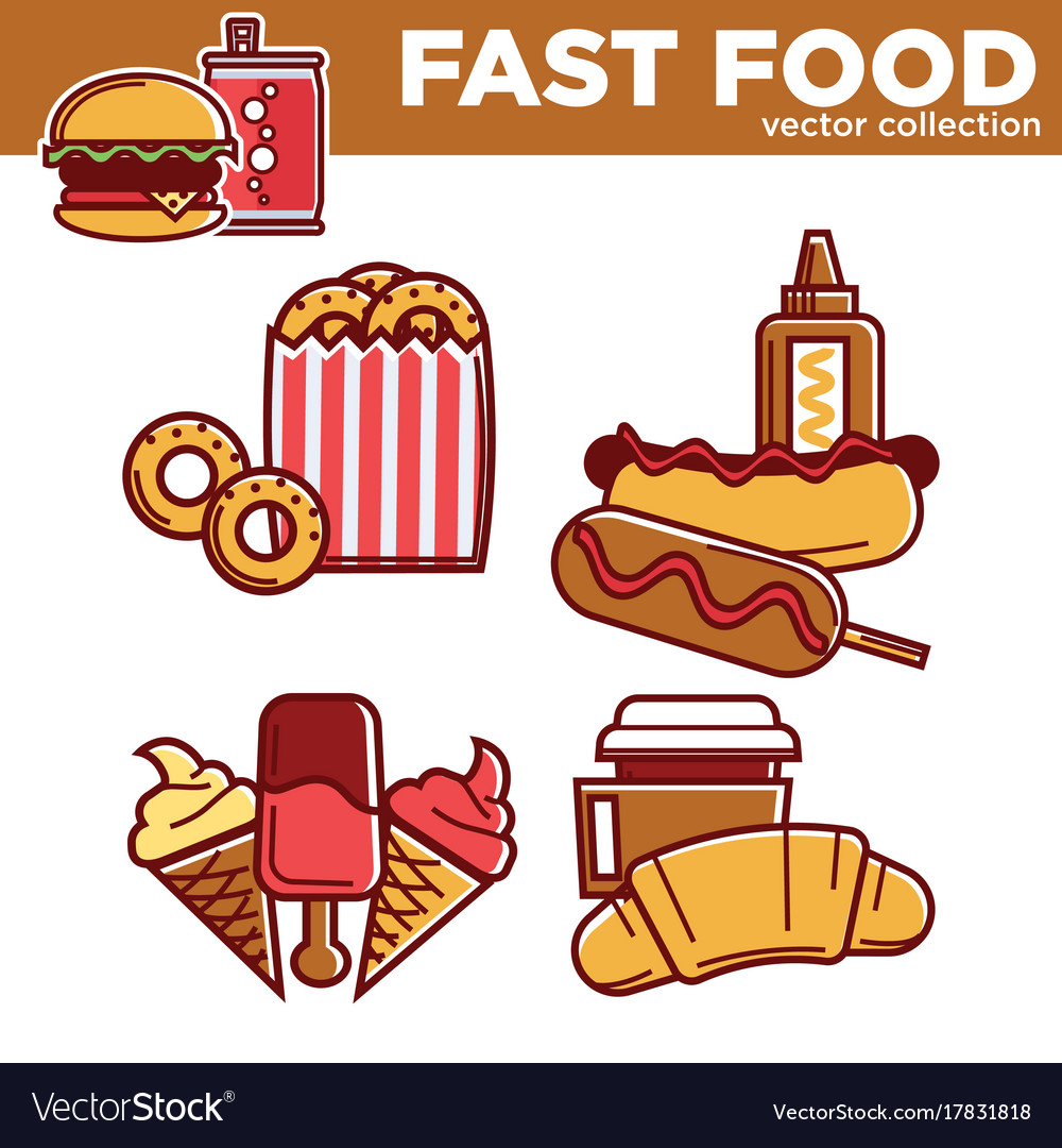 Tasty fast food collection with fat dishes