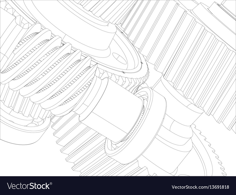 Wire-frame gears with shafts close-up
