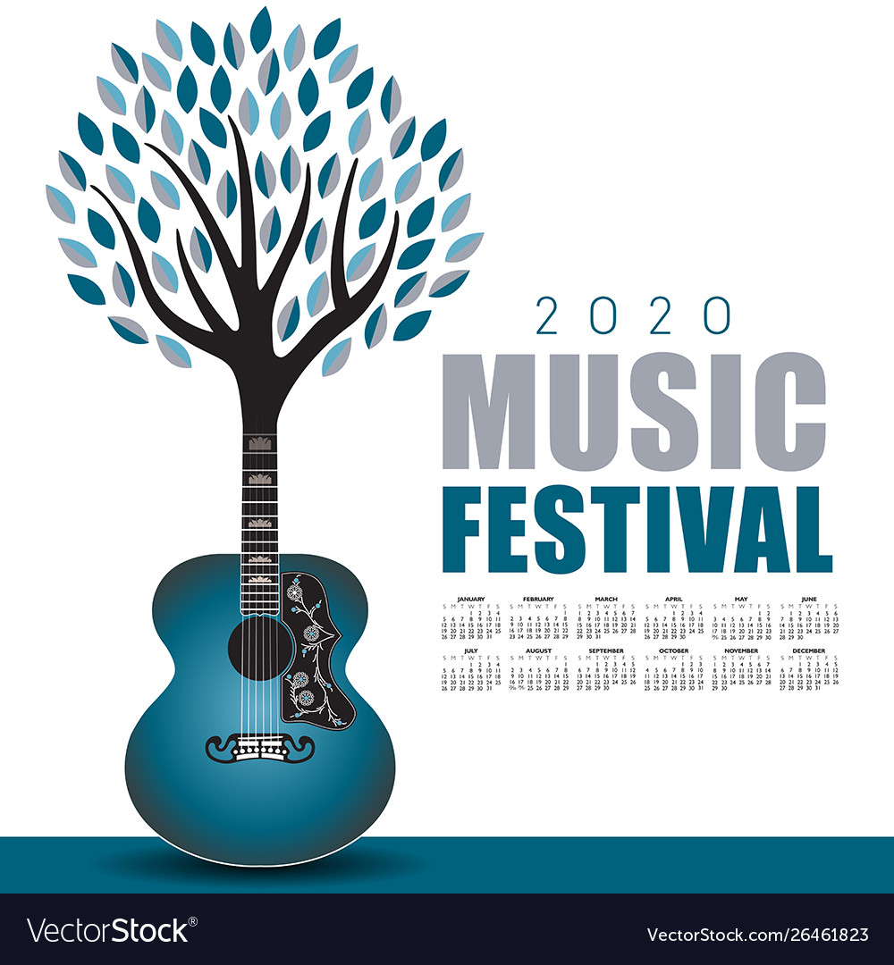 Music Festival Calendar 2020 2020 outdoor music festival art with a calendar Vector Image