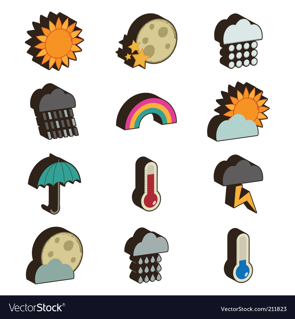 3d weather icons vector image