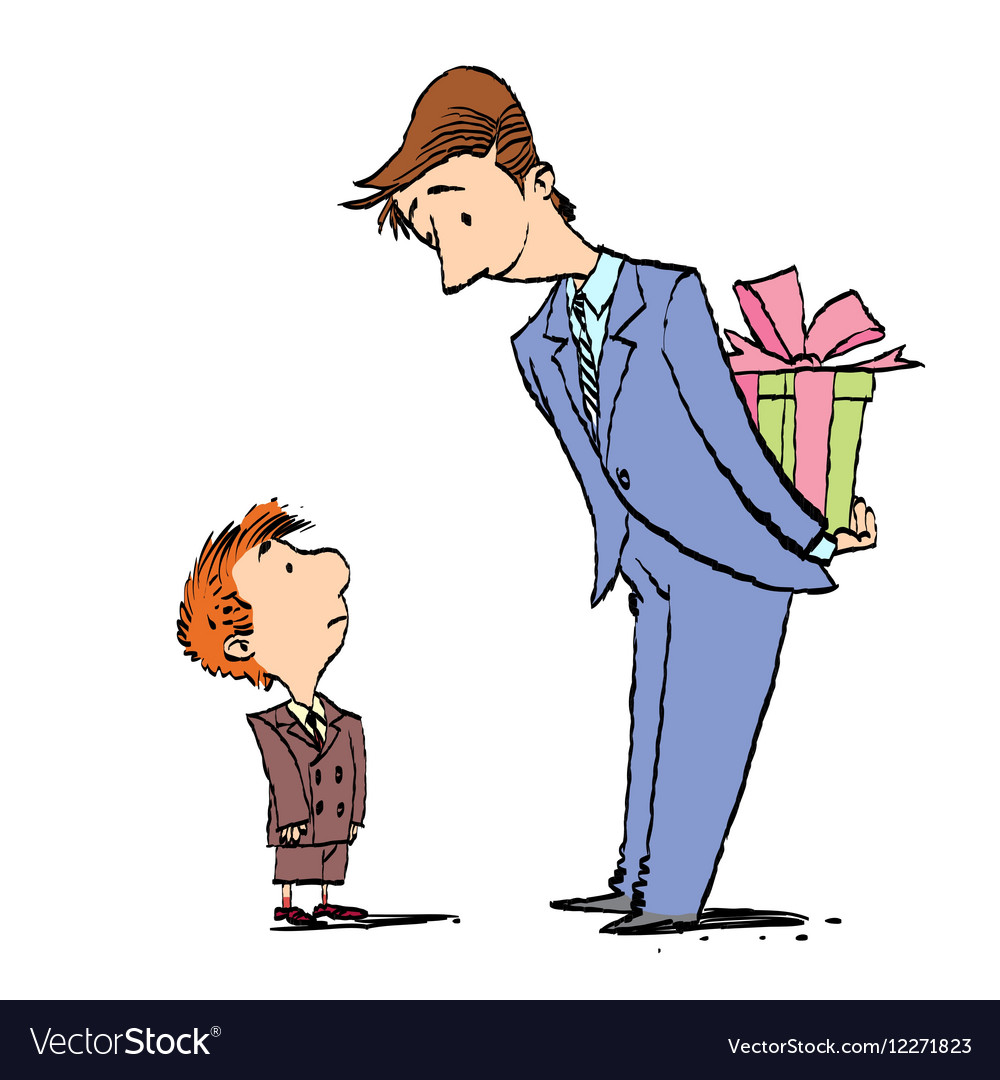 Dad And Son Birthday Gift Vector Image