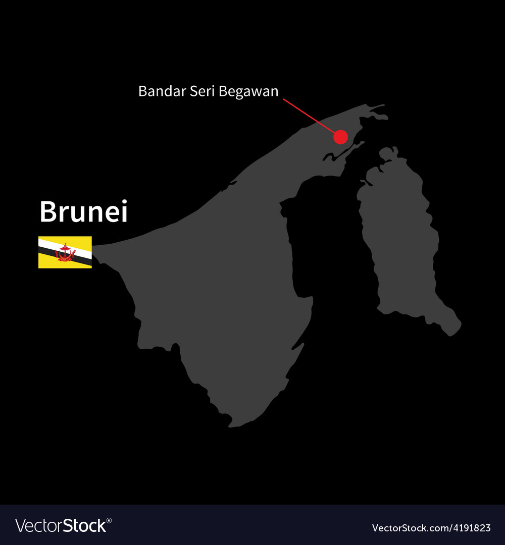 Detailed map of Brunei and capital city Bandar vector image on VectorStock