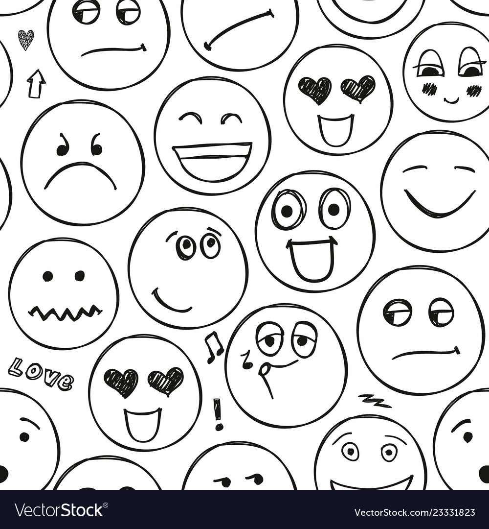 Faces seamless pattern emotions doodle