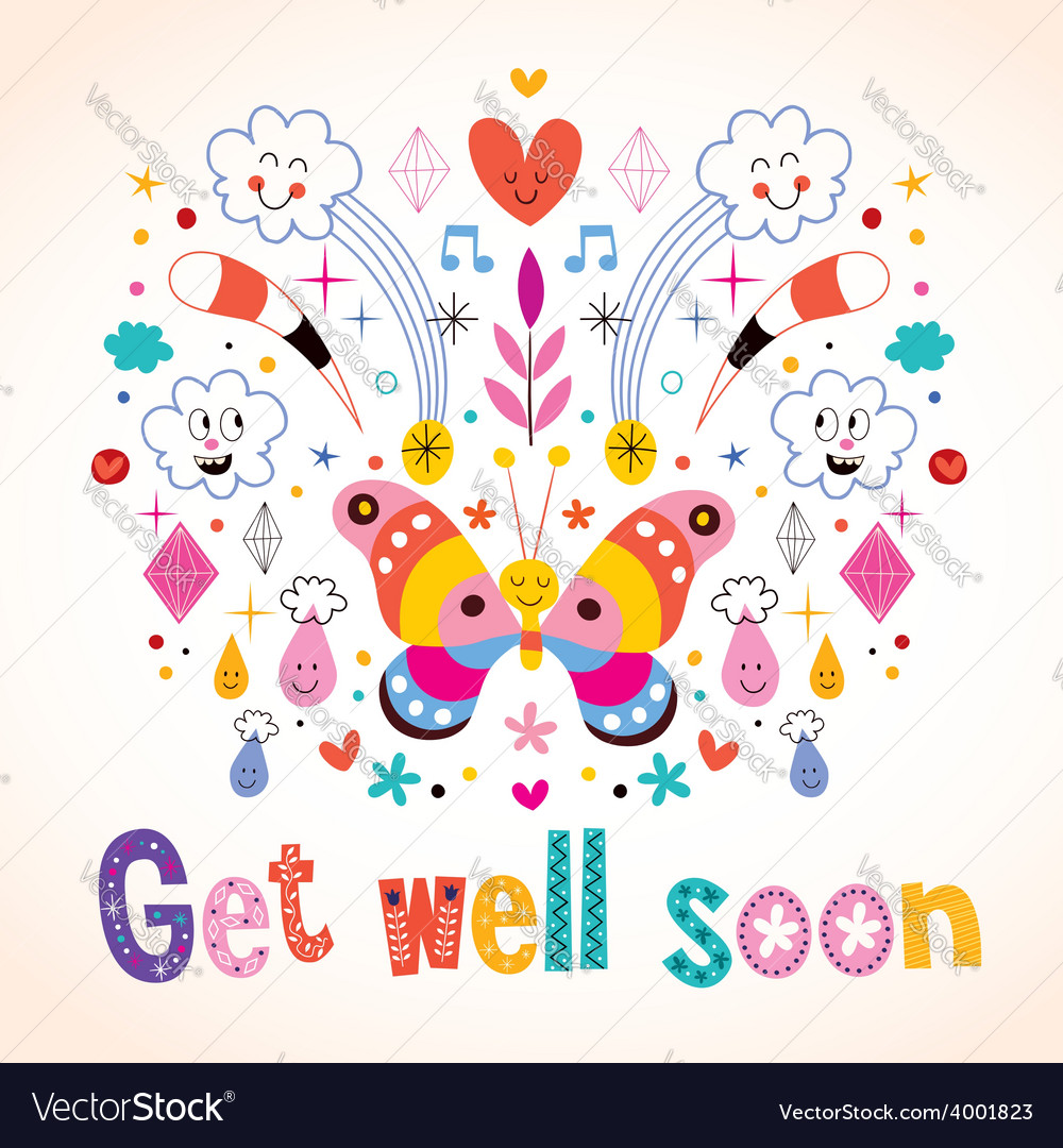 Get Well Soon Greeting Card Royalty Free Vector Image