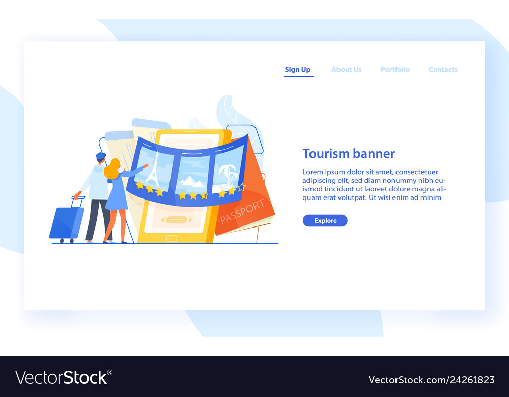 Landing page template with couple standing in