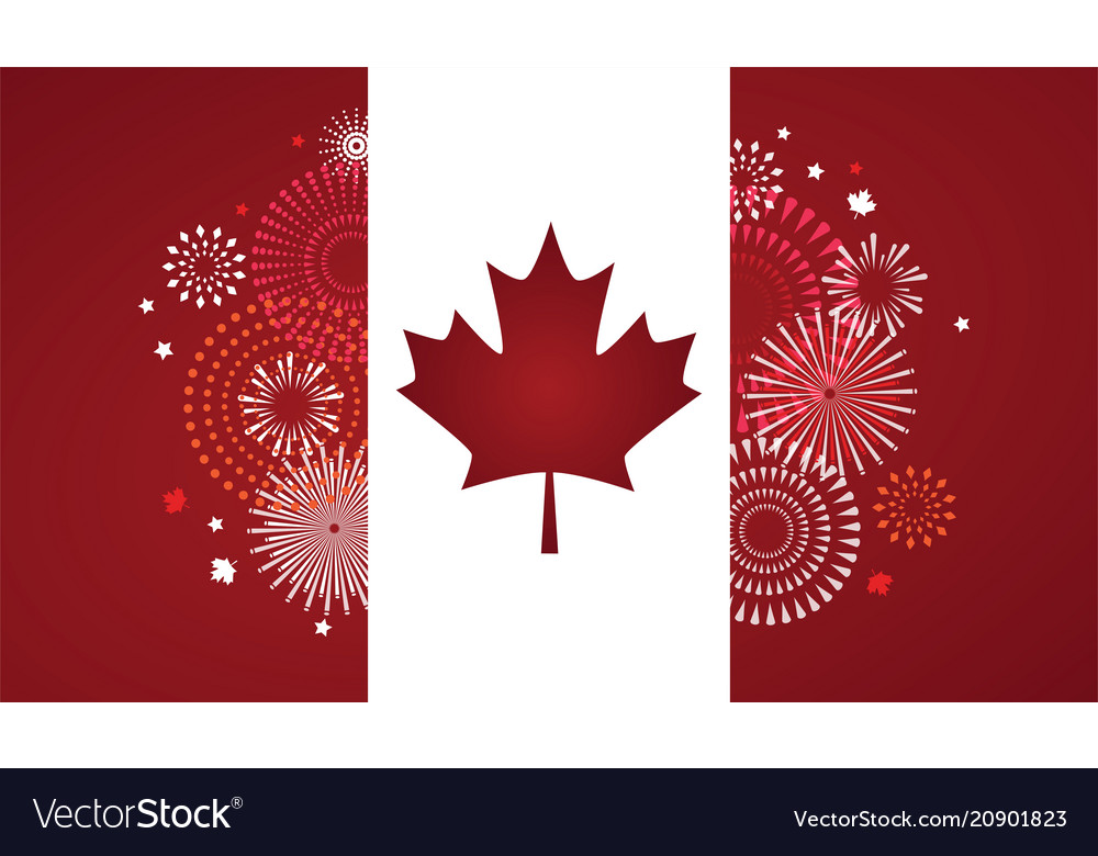 Maple leaf with firework poster for celebrate the