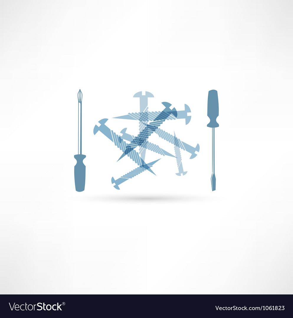 Screwdriver and screws Repair Icon vector image