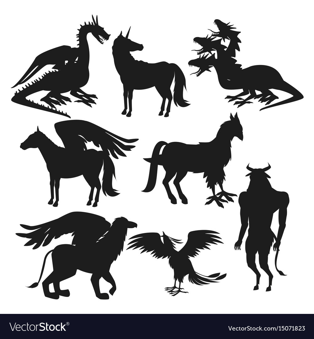 Set black silhouette animal greek mythological