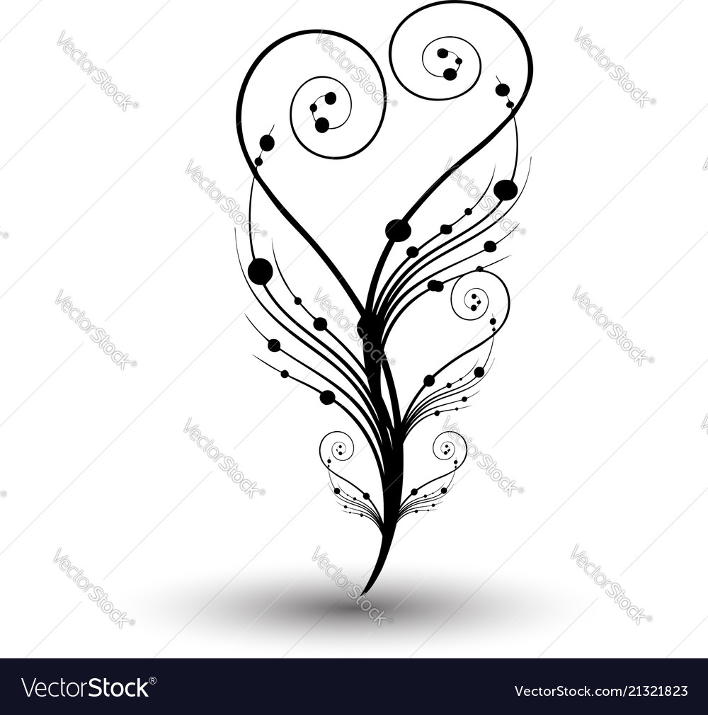 Swirly Floral Vine Branch Icon Royalty Free Vector Image