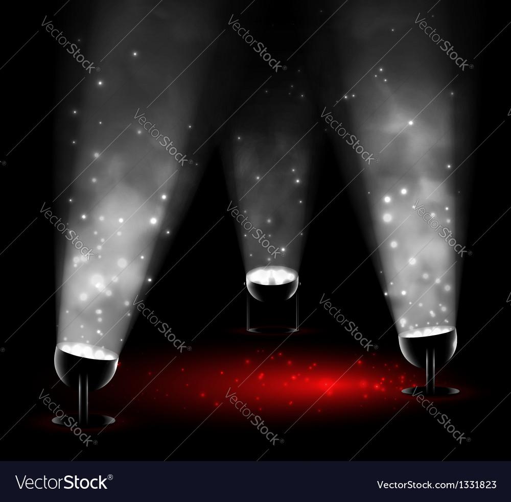 Three spotlights vector image