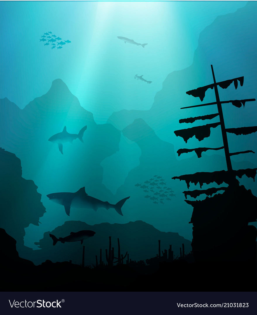 Underwater world with sharks and sunken ship