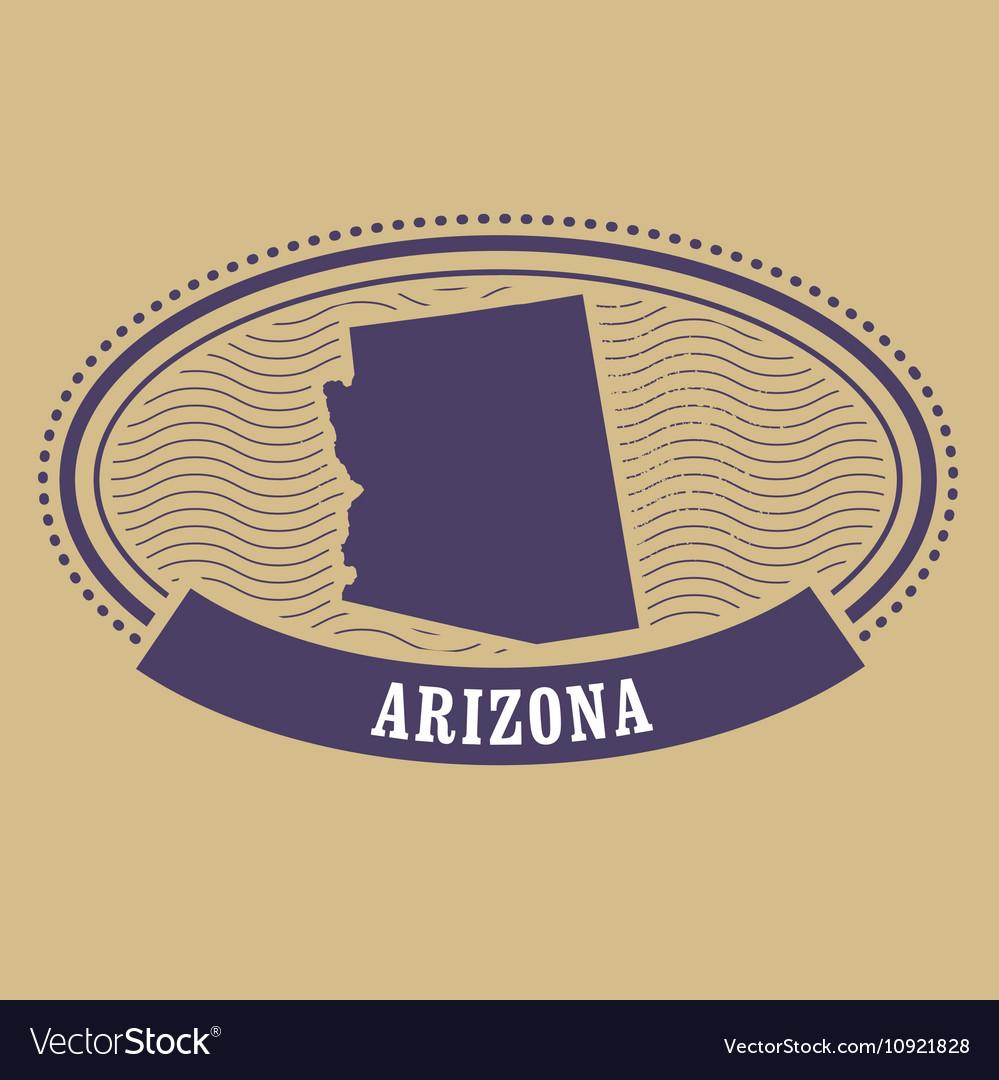 Arizona State Map Pdf.Arizona Map Silhouette Oval Stamp Of State Vector Image