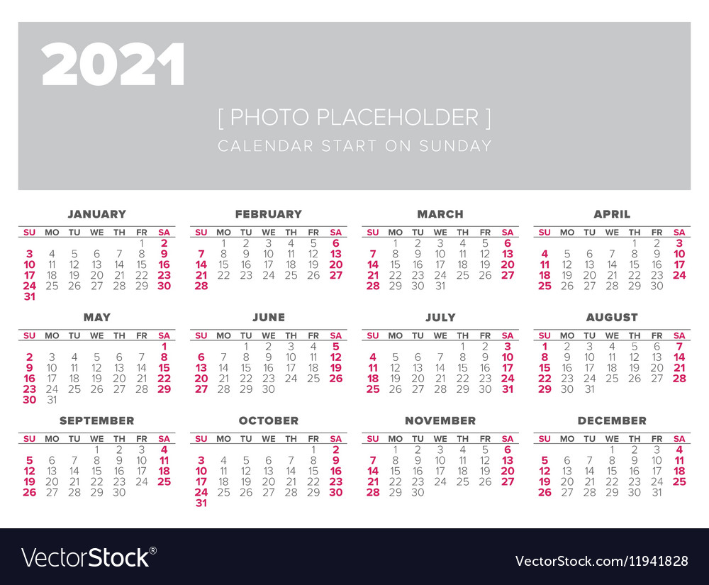 Calendar 2021 year design template Royalty Free Vector Image