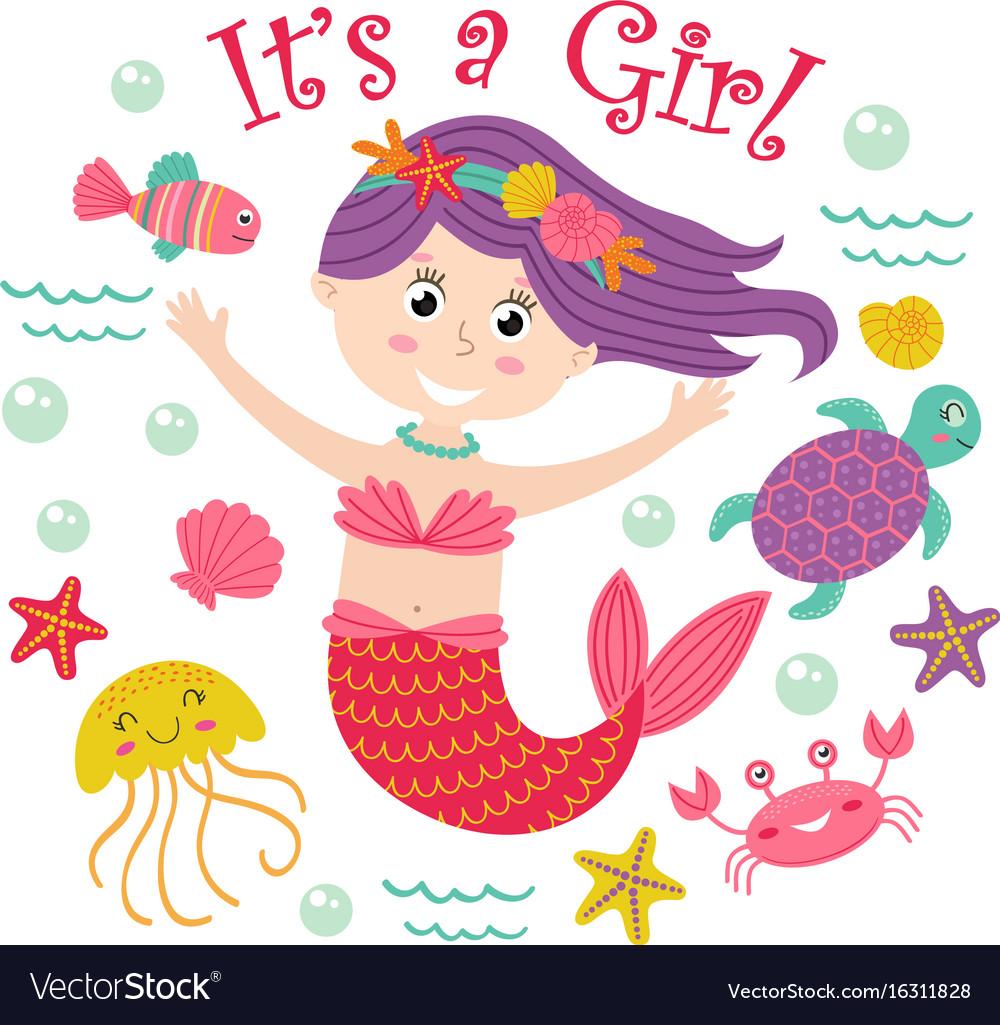 Card with mermaid girl and marine animals