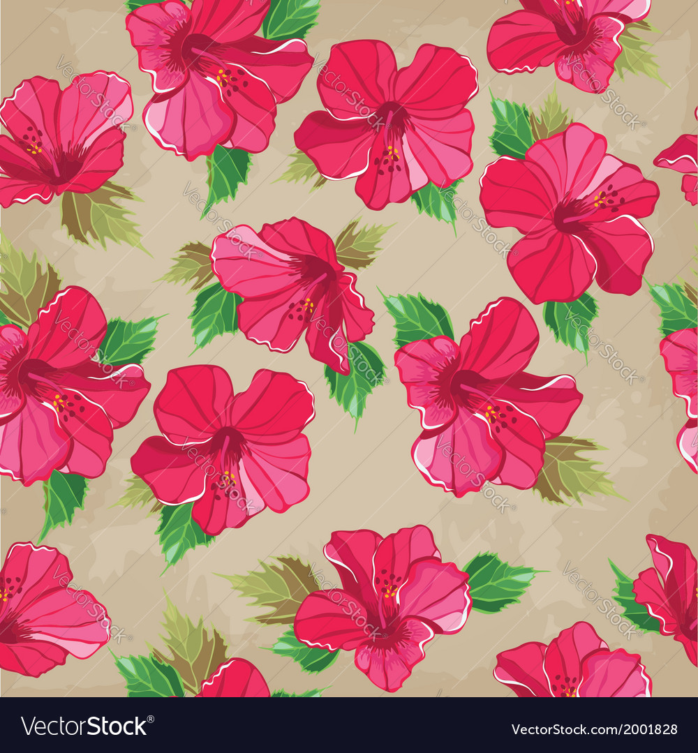 Floral seamless pattern with hibiscus hand-drawing