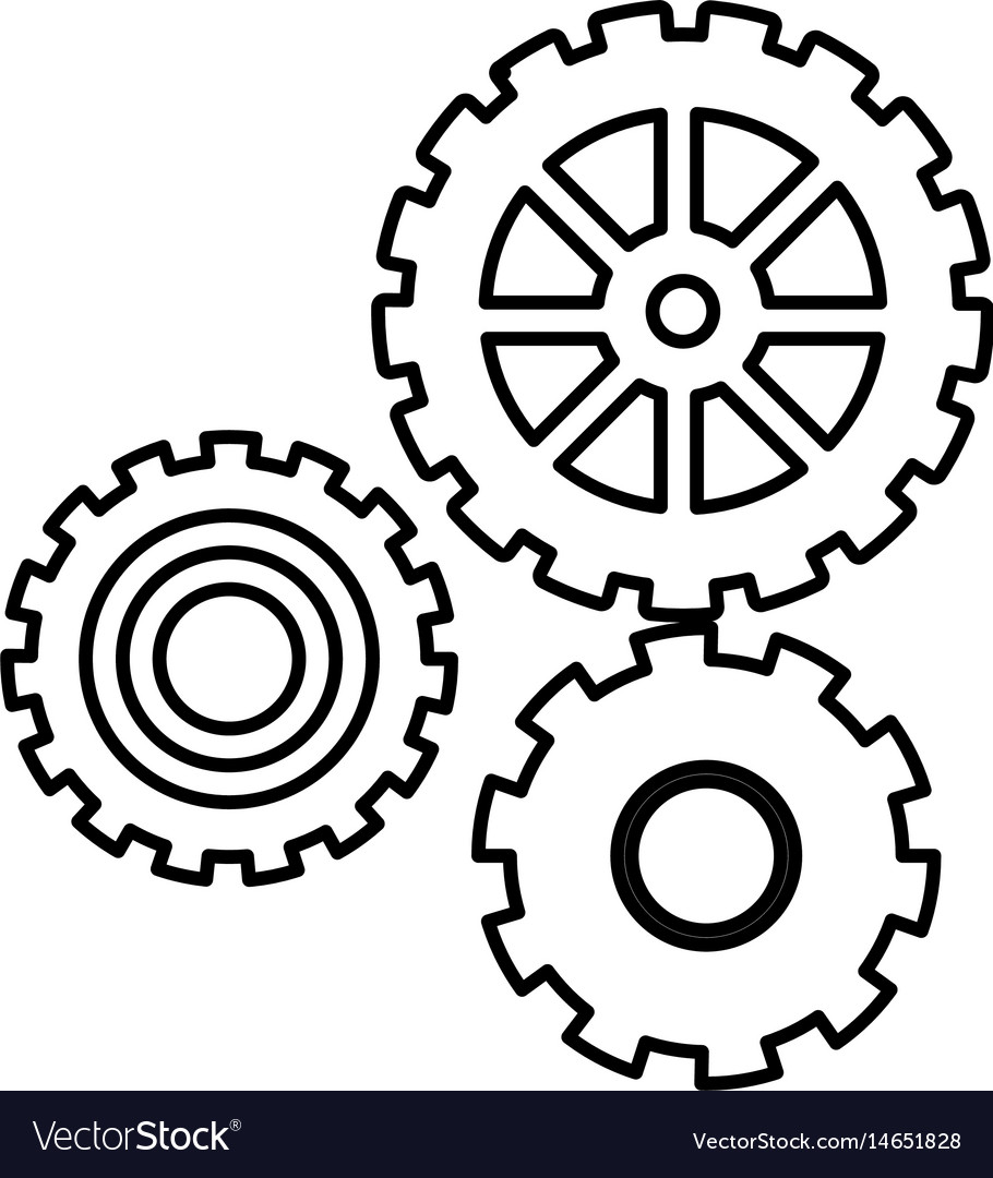 Gear work mechanical cooperation line vector image