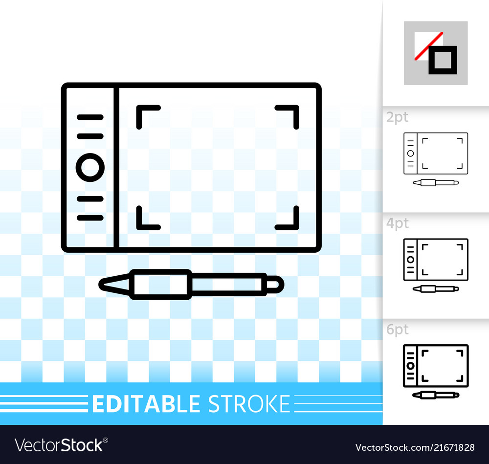 Graphic tablet simple black line icon