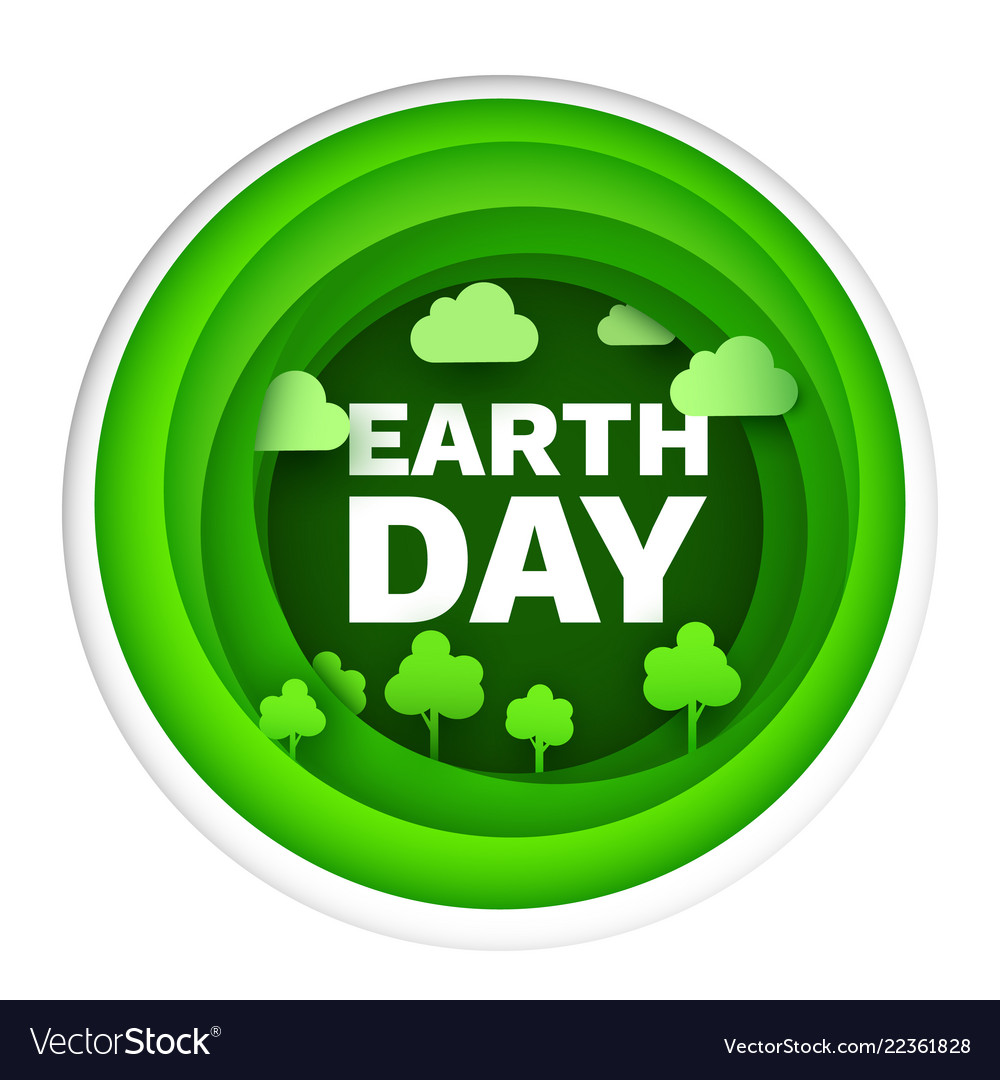Happy earth day flat card or background paper