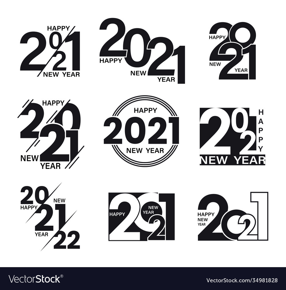 Set 2021 text signs happy new year collection