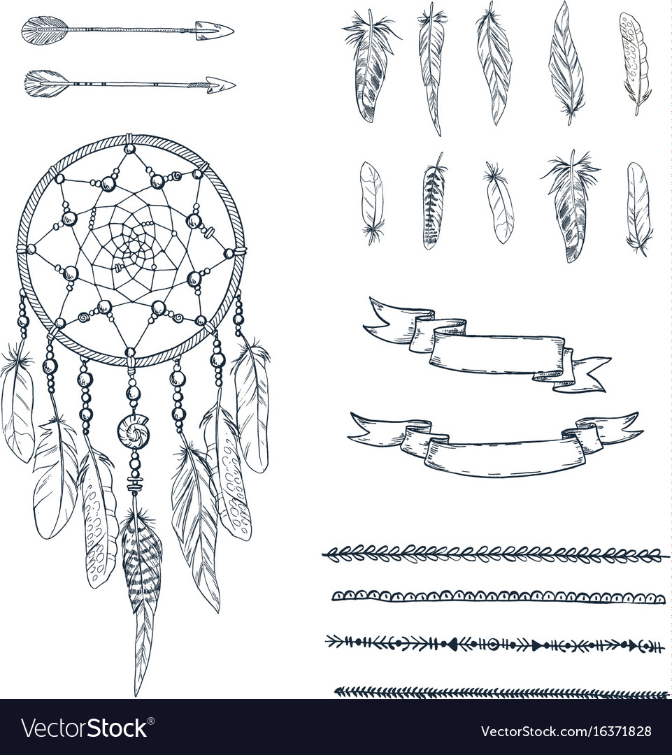 Set of hand drawn ornate dreamcatcher
