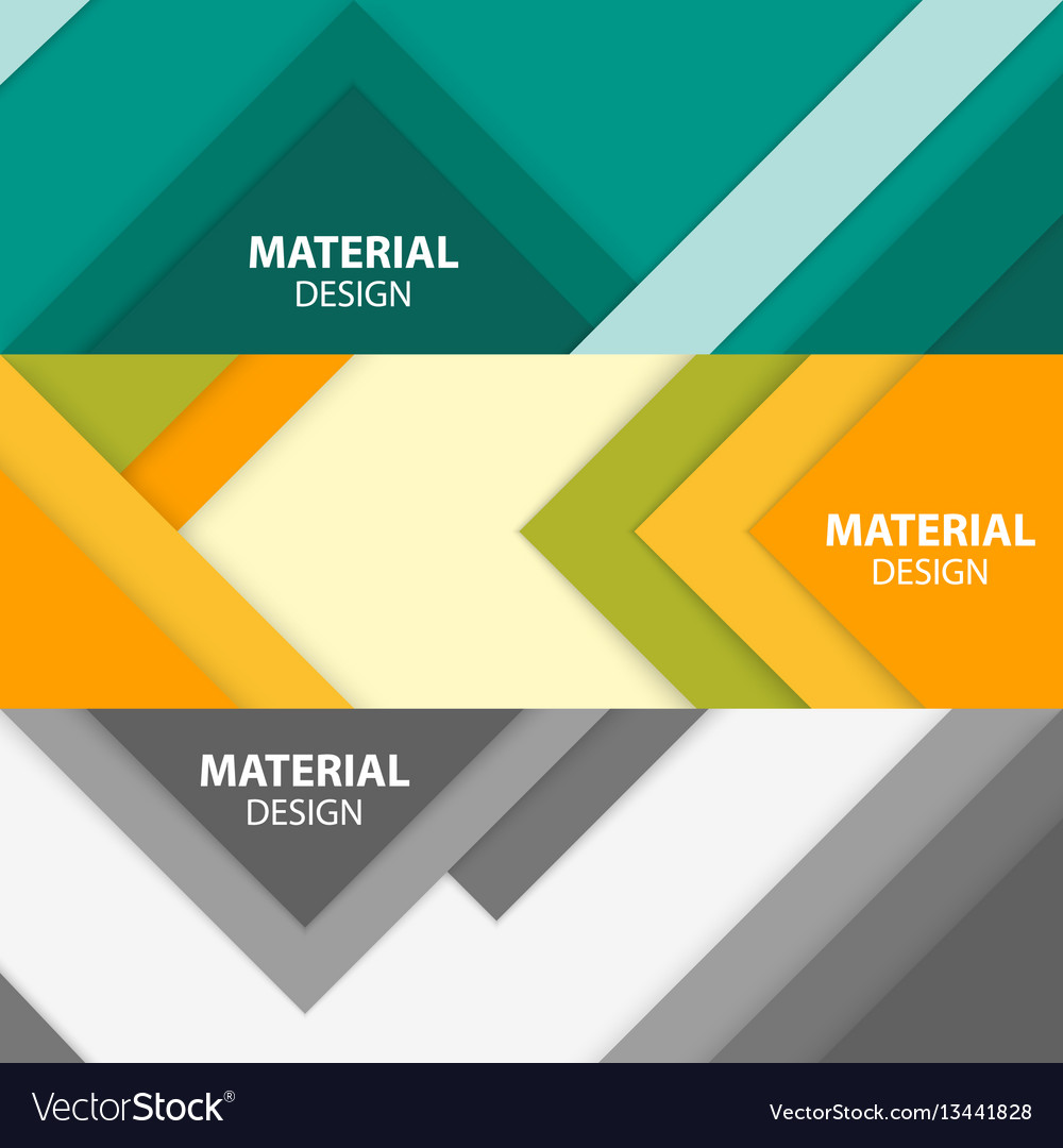 Set of three horizontal material design banners vector image
