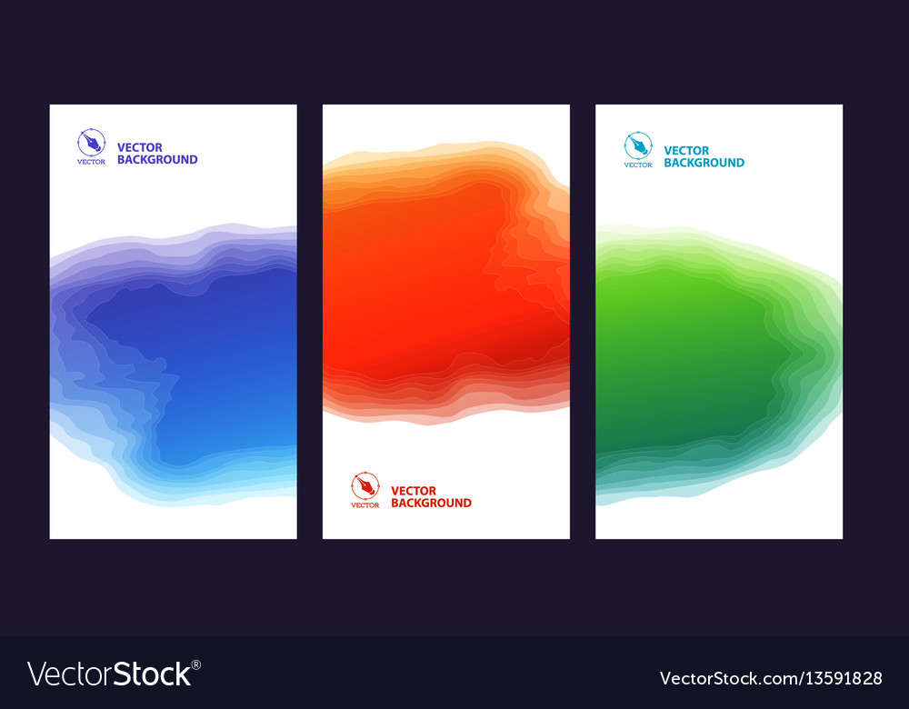 Set three banners abstract headers with step