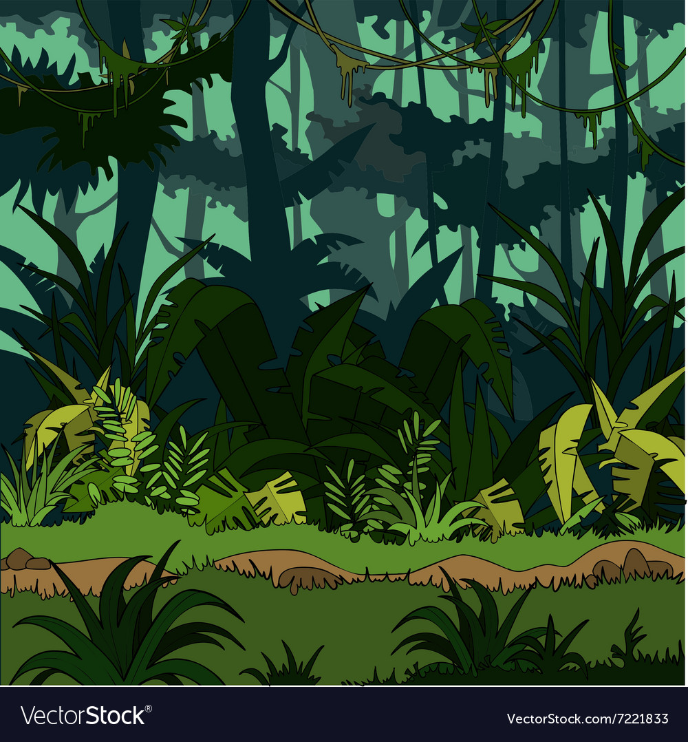 cartoon green thickets in the jungle royalty free vector rh vectorstock com jungle vector background free download jungle vector png