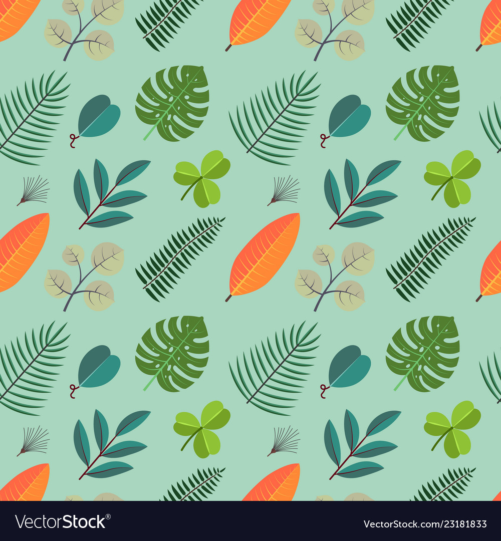 Color seamless pattern with green palm leaves
