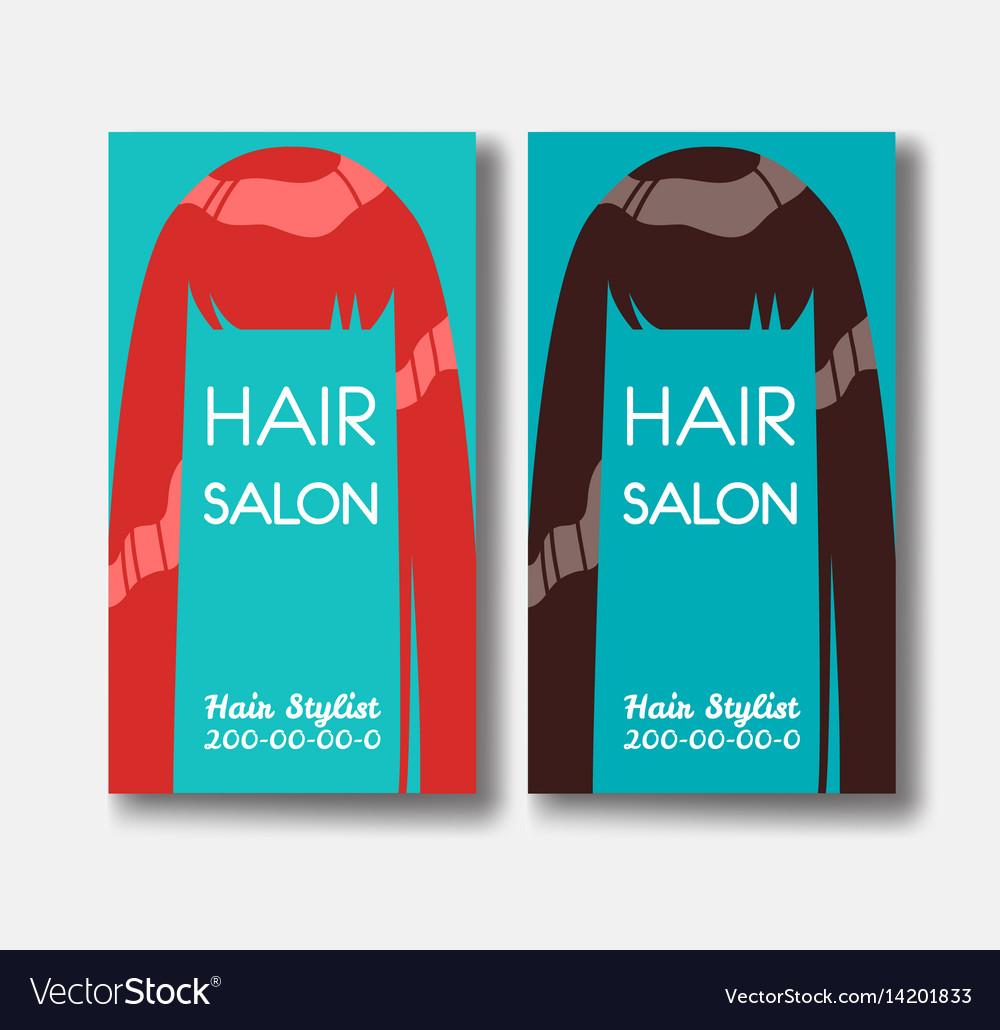 Hair salon business card templates with red hair vector image accmission Image collections