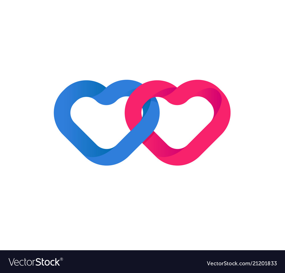 Hearts union unification of hearts loving red vector image