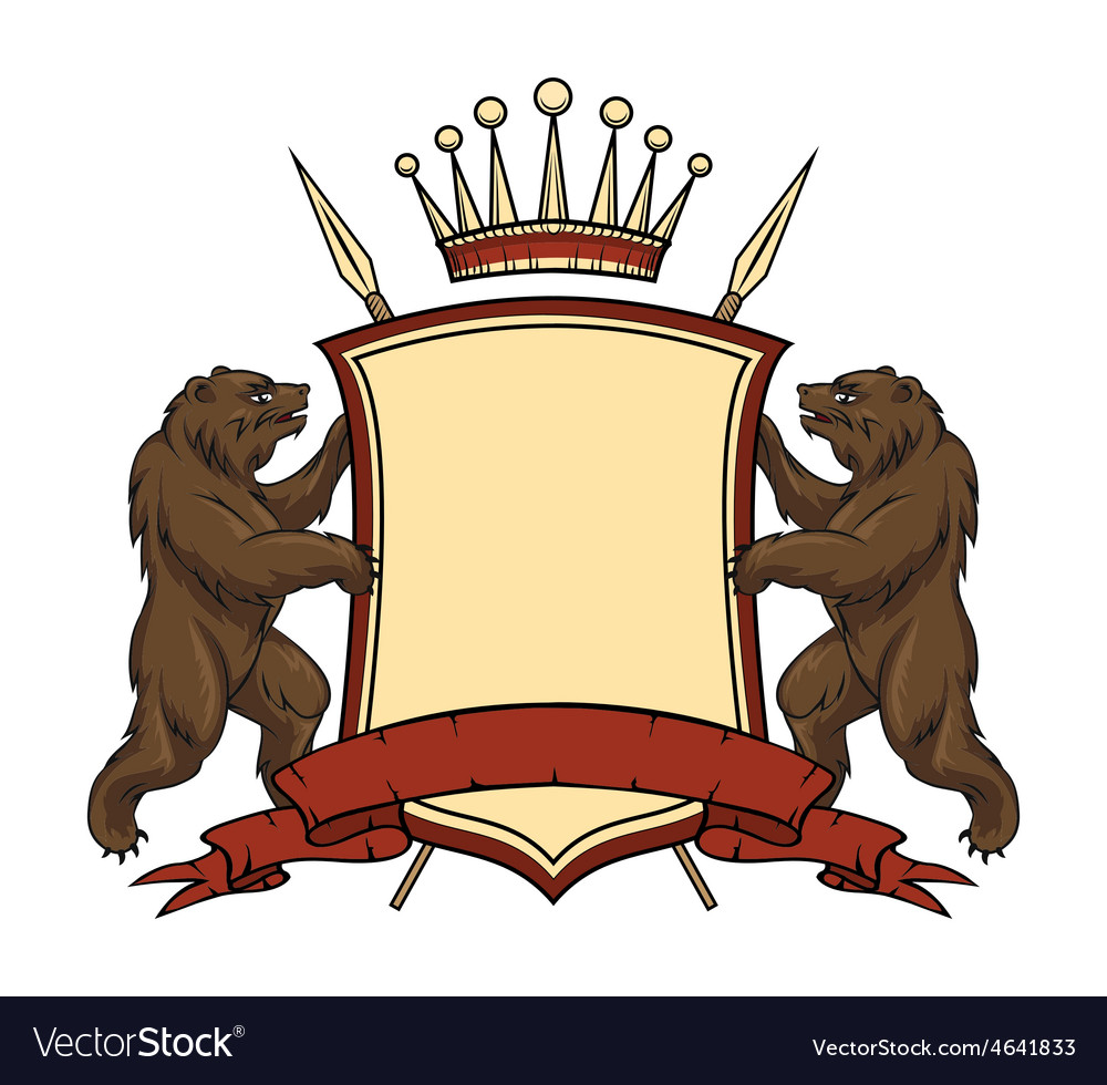 Heraldic logo element Bears with shield and