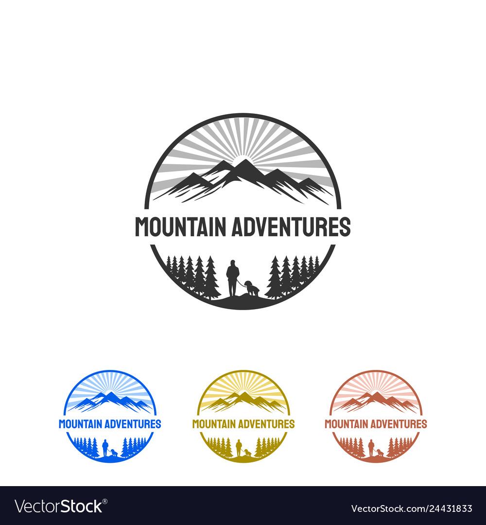 Mountain with sunburst logo designs inspirations