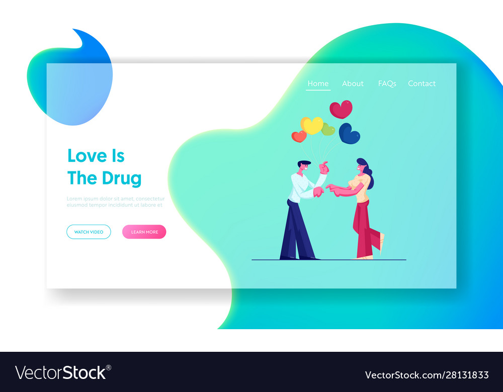 Romantic dating website landing page man giving