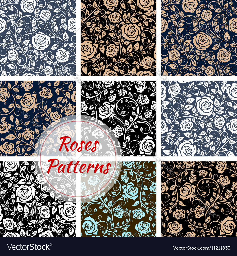 Roses floral seamless patterns