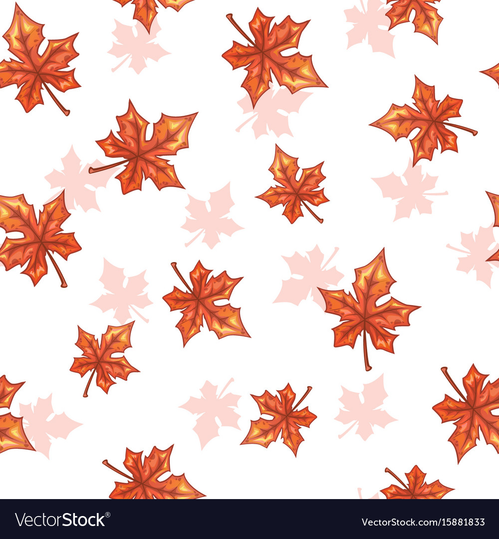 Seamless pattern with falling maple red leaves vector image