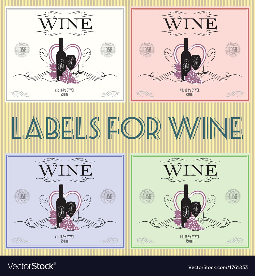 Set of labels for wine with bunch grapes and barre