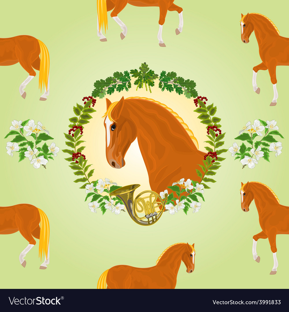 Sorrel horse head of stallion leaves and french h