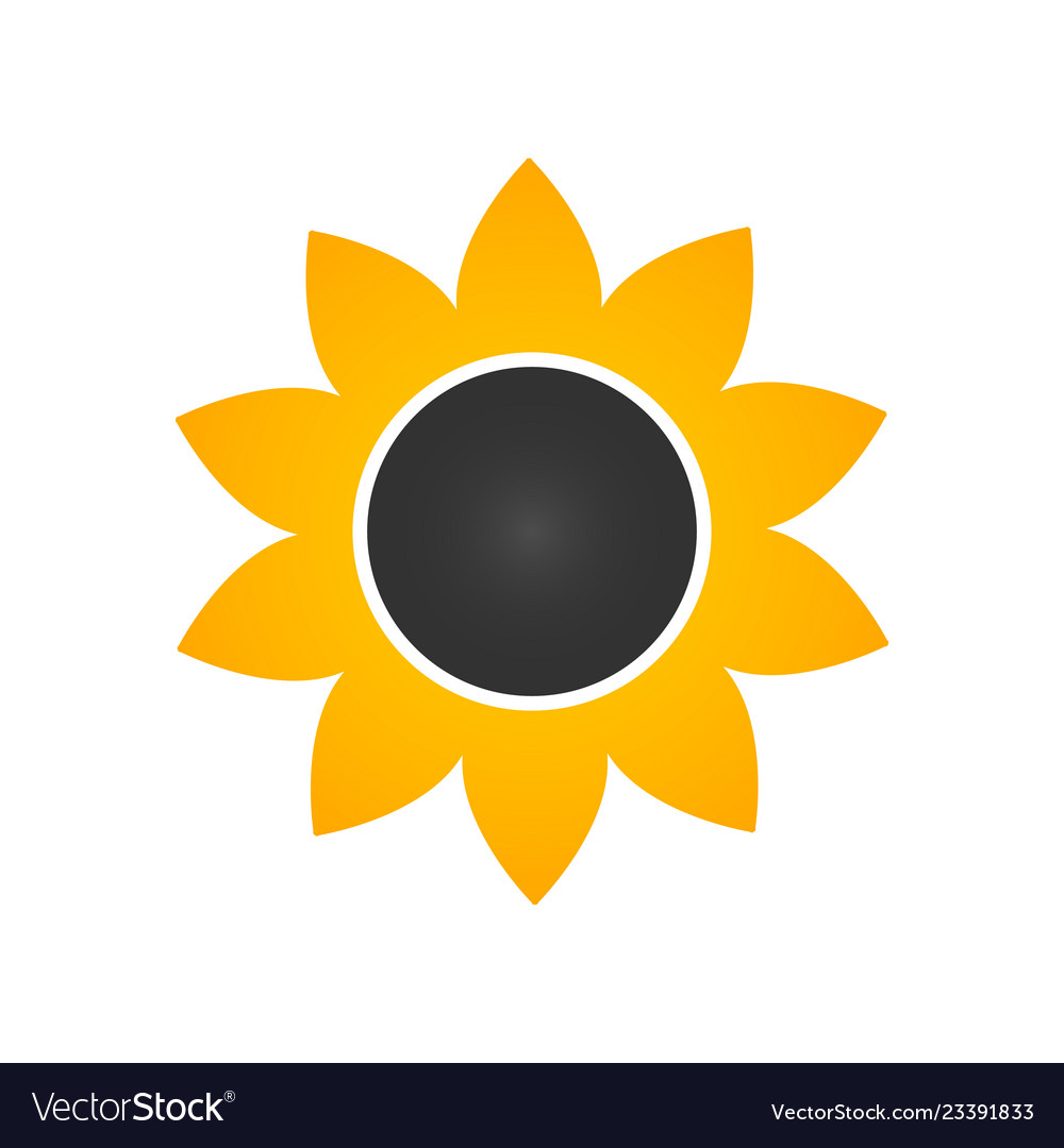 Sunflower icon in flat style isolated on white