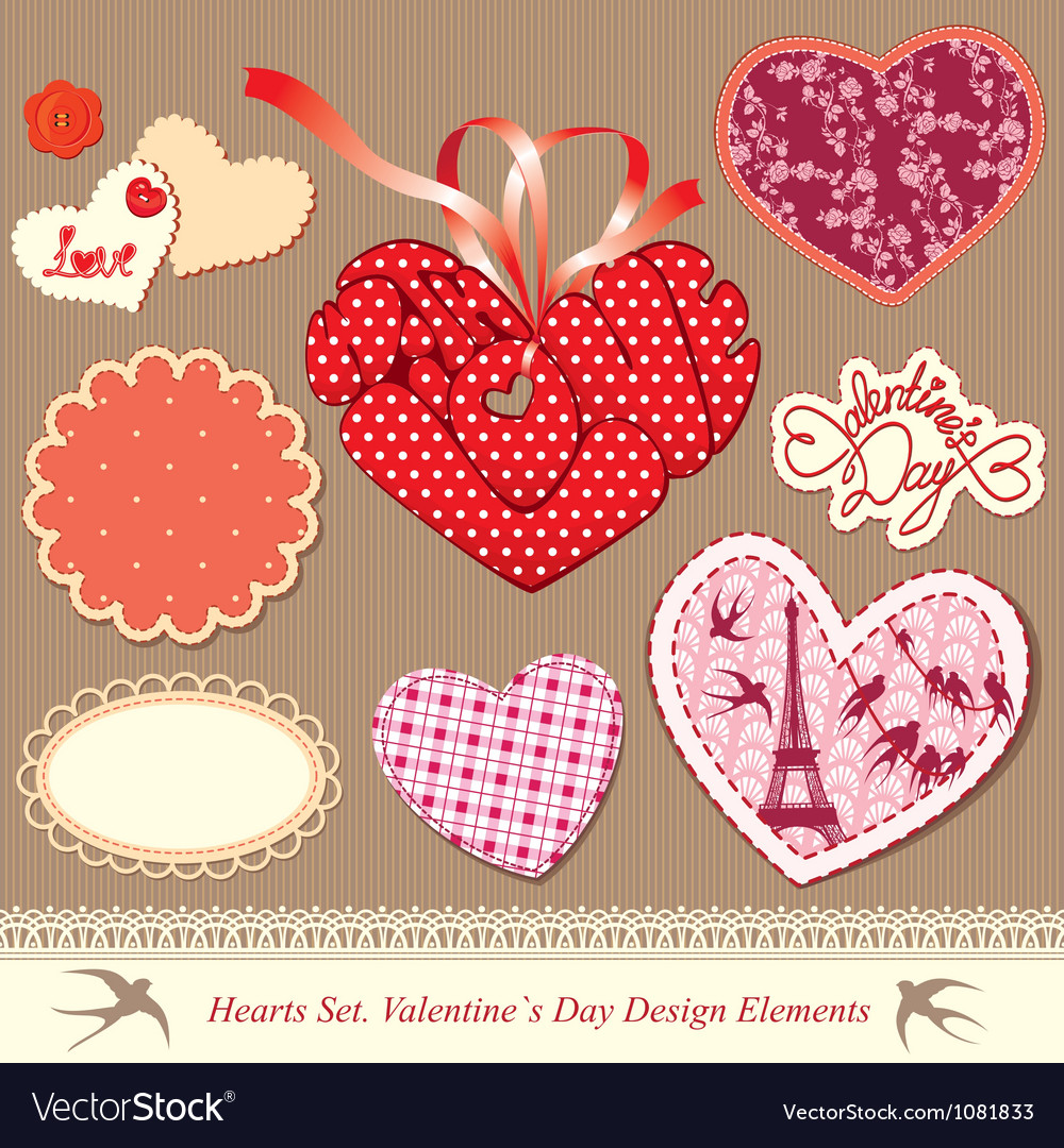 Valentines day design elements - different hearts