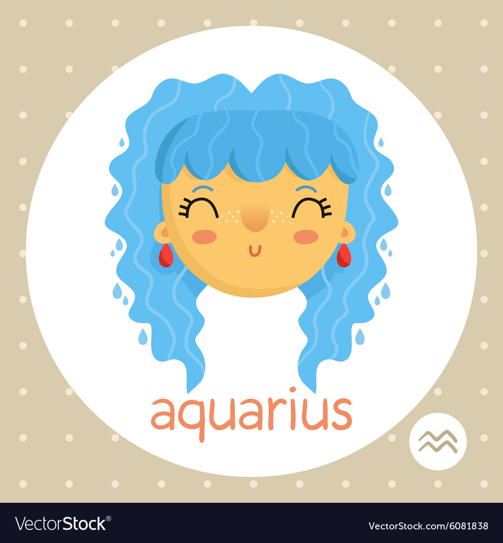 Aquarius zodiac sign girl with water drops vector image