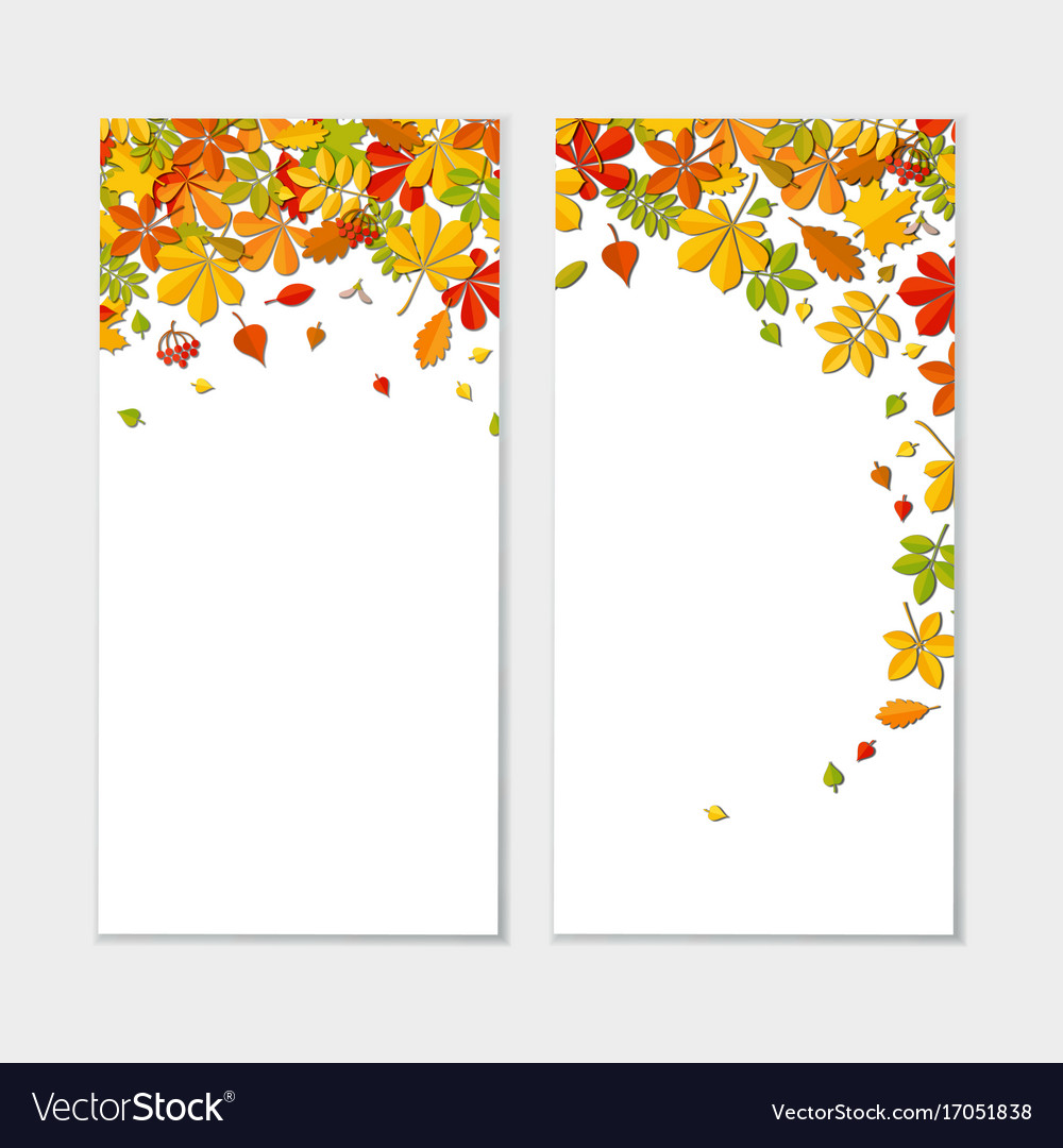 Banner set with autumn falling leaf isolated on