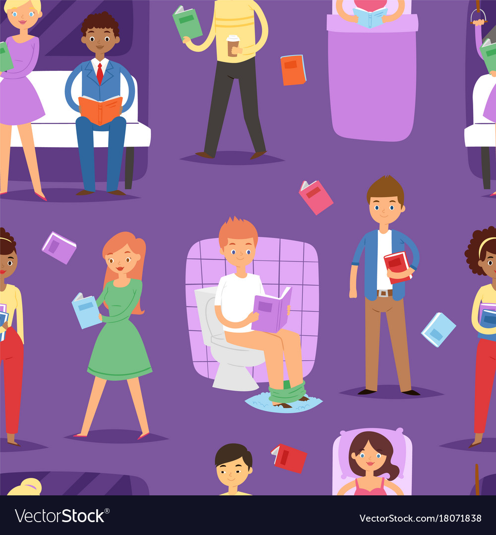 Cartoon people reading books students and adult vector image