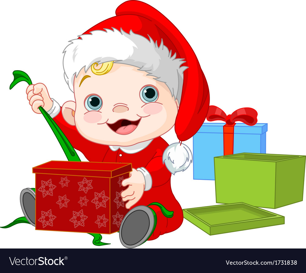 Christmas baby open gift Royalty Free Vector Image