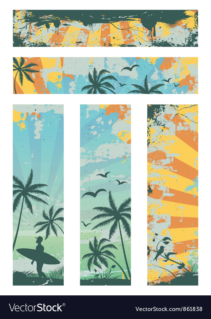 Grunge summer banners