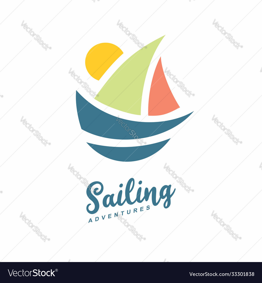 Sailing adventures logo with boat